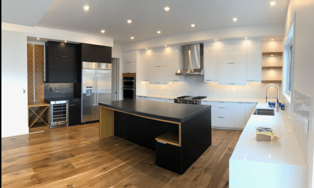 charcoal white two-tone kitchen contemporary.